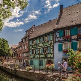 Quai de la Poissonniere by Ole Steffensen - City,  Street & Park  Street Scenes ( half-timbered houses, la petite venise, alsace, france, river bank, quai de la poissonniere, colmar )