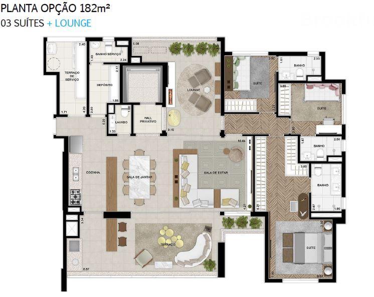 Plana 182 m² do 2 ao 18 Pavimento Finais 1 e 2 Opção + Lounge