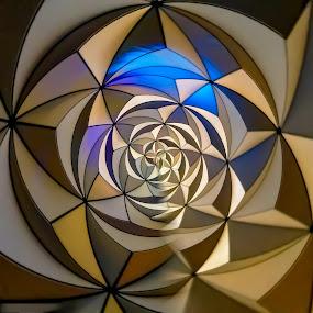 Epcot Parallel Universe.... by David Whitehead - Abstract Macro ( spaceshipearth epcot disney waltdisneyworld wdw vacation florida abstract orange blue metal art parallel universe triangle mickey goofy donald )