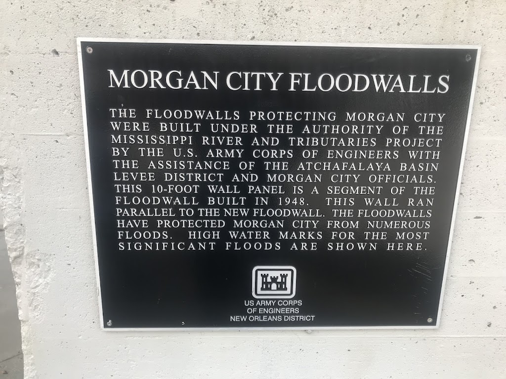 The floodwalls protecting Morgan City were built under the authority of the Mississippi River and Tributaries Project by the U.S. Army Corps of Engineers with the assistance of the Atchafalaya Basin ...