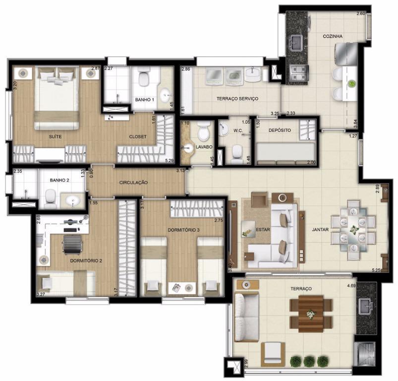 Planta Apto Tipo - 3 Dorms - 109 m²