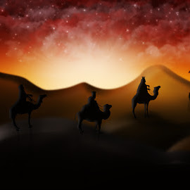 Christmas Nativity Scene Of Three Wise Men Magi Going To Meet Ba by Aleksandar Ilic - Illustration Holiday ( magie, camels, wisemen, christianity, christmas star, three, nativity, scene, wise, virgin, bethlehem, camel, christmas nativity, noel, 3d illustration, bible, night, reis, birth, kings, christmas, dini, 3d render, manger, traditional, jesus, light, background, natal, silhouette, scenes, rays, joseph, religious, christmas scene, magi, church, donkey, sun, bible story, nativity christmas, native, christian, design, men, baby jesus, christmas story, christ, star, holy, advent, born, mary, nativity scene, religion, orange, blue, three kings, stable, sunset, baby, purple, illustration, virgin mary, family, story )