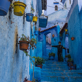 Merry kid by Martin Vanek - City,  Street & Park  Street Scenes ( stairs, xaouen, blue, chefchaouen, morocco, kid )