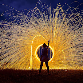 Burning heat by Ching Max - Abstract Light Painting ( steel wool, lightpainting, steelwool, burning, light, nightscape )