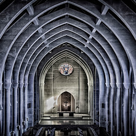 The Light Shinning In by Janice Mcgregor - Buildings & Architecture Places of Worship ( blue blue, old, building, mo, monastery, place of worship, contest, windows, stain glass, architecture, cross, aged )