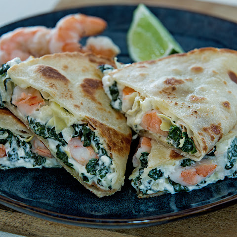 Spinach Artichoke & Shrimp Quesadillas