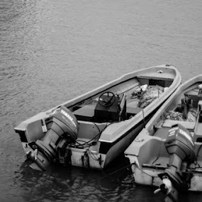 You and Me by Cristopher Selga - Nature Up Close Water ( water, speed, black and white, motor, boat )