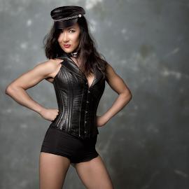Top Hat! by David Lawrence - People Fashion ( pose, model, girl, biker, tough, power, leather, black, babe, vest, top, hat )