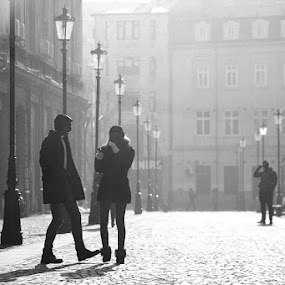 Bucharest Street by Nicu Buculei - Black & White Street & Candid ( bucharest, black and white, street, couple, people, , Love is in the Air, Challenge, photo )