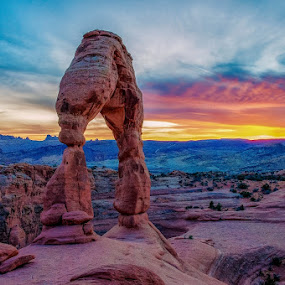 Delicate Arch Sunset by Brent Clark - Landscapes Deserts ( geology, clouds, sky, desert, arch, sunset, red rock, landscape, delicate arch )