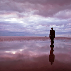 Nowhere Man by Mike Shields - Landscapes Beaches ( sand, sunset, liverpool, crosby beach, beach, anthony gormley )