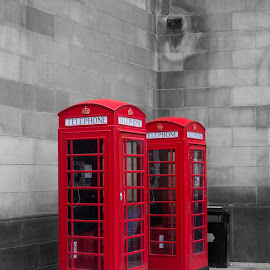 Two Tone Phone by Stuart Giblin - City,  Street & Park  Street Scenes ( colour, phone, red, colour pop, b&w, black and white, red phone box, manchester, telephone, phonebox )