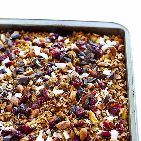Healthy Dark Chocolate Cherry Cinnamon Granola