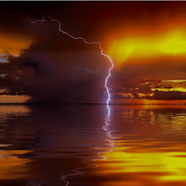 Fire and Water by Lorna Littrell - Landscapes Cloud Formations ( lightening, sunsets, clouds, water, storms, summer,  )