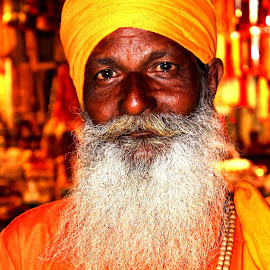 holly man by Megha Chagtoo - People Portraits of Men ( old, detailed, holly man, yellow, haridwar )