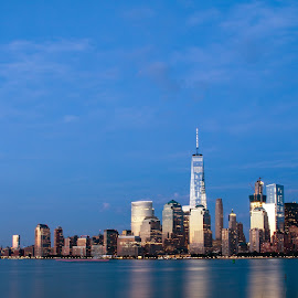 by Judy Florio - City,  Street & Park  Skylines ( water, reflection, skyline, sky, manhattan, cityscape, new york, landscape )