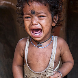 Nepal by Diego Scaglione - Babies & Children Child Portraits ( face, crying, baby, hole, tears,  )