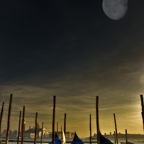 Extracts of Moonlight from the 3 musketeers by Pranav Babu - Landscapes Travel ( moon italy, gondola, moonlight italy, moon, sunset italy, boat venice, san marco italy, venice, 3 gondolas, italy, rialto italy )