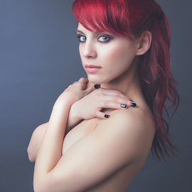 Cross My Heart by Jeremy Brown - People Portraits of Women ( portraiture, red hair, implied, redhead, beauty, portrait,  )