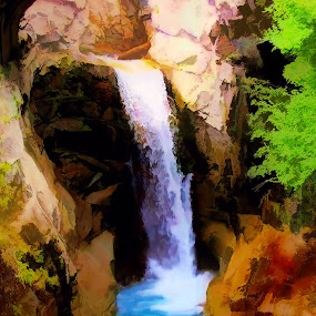Stone Falls by Christy Leigh - Painting All Painting ( waterfall, stone water nature )