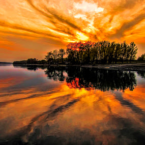 by Гојко Галић - Landscapes Sunsets & Sunrises ( sunset, sunrise, landscape, sun, river )