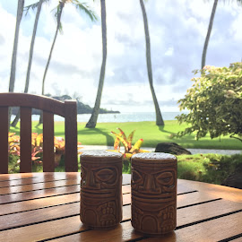 Patio Views by Amber O'Hara - Landscapes Travel ( kauai, salt and pepper, palm trees, tiki, table, beach, ocean view, hawaii )