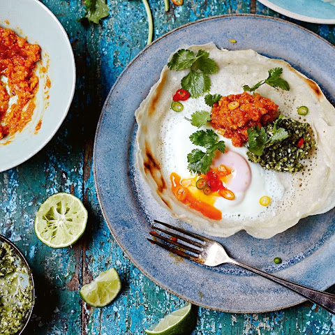 Jamie Oliver's egg hoppers with green and red sambals