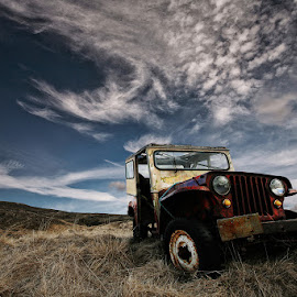 Willys by Þorsteinn H. Ingibergsson - Transportation Automobiles ( clouds, iceland, sky, nature, jeep, automobile, structor, rusty, landscape, willys, abandoned )