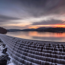 The Dam Dawn by Frank Vacante - Landscapes Sunsets & Sunrises ( nature, colorful, beautiful, dam, new york, sunrise, landscapes, longexposure, croton )