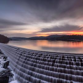 The Dam Dawn by Frank Vacante - Landscapes Sunsets & Sunrises ( nature, colorful, beautiful, dam, new york, sunrise, landscapes, longexposure, croton )