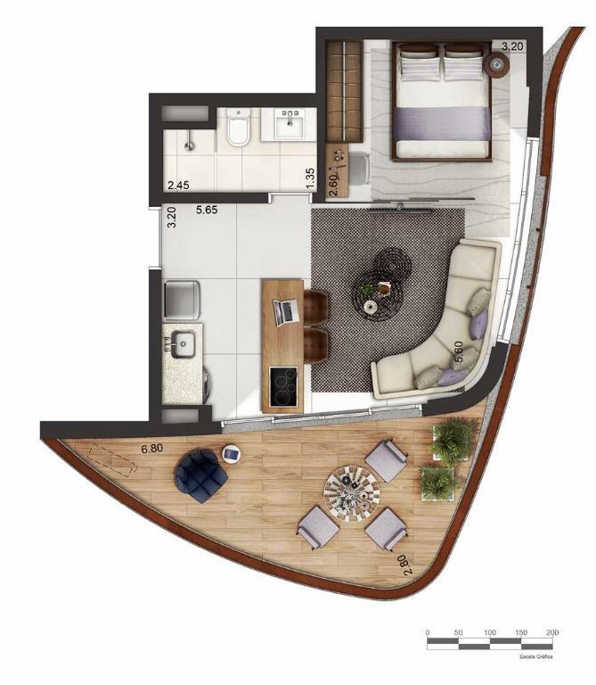 Apto 48 m² Layout 2