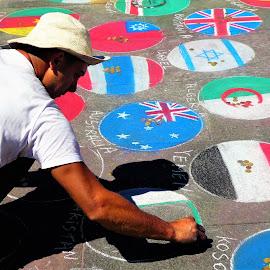 The colored chalks painter by Svetlana Saenkova - People Street & Candids ( painter, street art, street scene, flags, chalk,  )