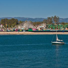 santa cruz beach by Michael Graham - City,  Street & Park  Amusement Parks ( wooden roller coaster, amusement park, amusement ride, waterscape, theme park, roller coaster, santa cruz, wooden coaster, boardwalk )