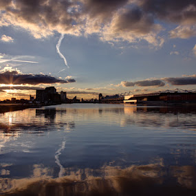 Royal Victoria Docks 02 by Bill Green - City,  Street & Park  Vistas ( royal victoria docks, water, vapour trails, sunset, reflections, excel centre )