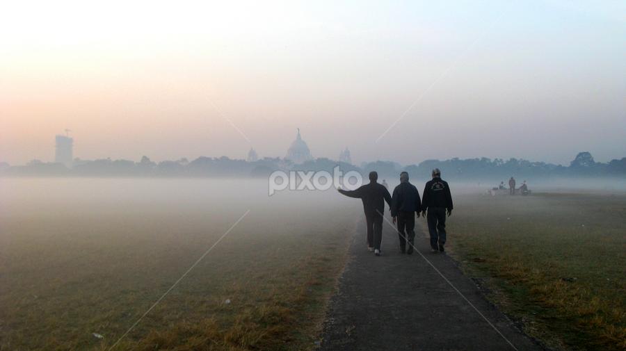 walkers by Arup Chowdhury - City,  Street & Park  Street Scenes