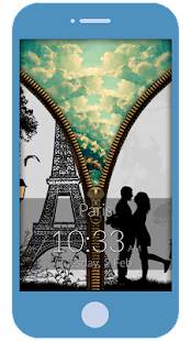 Paris Love Zipper Lock Screen - screenshot