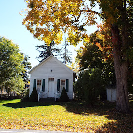 One Room School House by Dale Moore - Buildings & Architecture Public & Historical ( school, fall colors, autumn, historic district, new york, historical, historic )