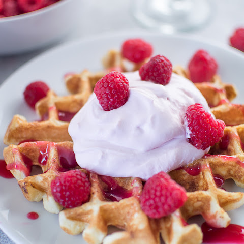 Buttermilk Waffles with Raspberry Champagne Mascarpone Cream