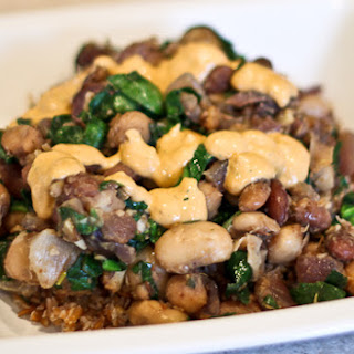 Warm Beans and Spinach with Sun-Dried Tomato Yogurt Dressing