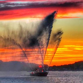 Spray  by Ann Goldman - Transportation Boats ( #fireboat #sunset #boat #water #spray,  )