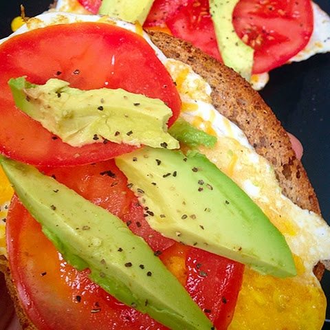 Open Faced Avocado & Tomato Egg Sandwich