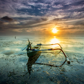 Ever Since  by Choky Ochtavian Watulingas - Landscapes Sunsets & Sunrises ( clouds, seaweeds, seascape, sunrise, morning, skies, sun )