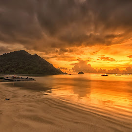 Sunset at Selong Belanak Beach, Lombok by Kristianus Setyawan - Landscapes Sunsets & Sunrises ( clouds, reflection, skyline, waterscape, indonesia tourism, cloudscape, beach, seaside, seascape, lombok, landscape, nature, selong belanak beach, sunset, indonesia, landscape photography, nature photography, golden hour, skyscape )