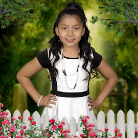 flowers by David Salmon - Babies & Children Child Portraits ( fence, white picket, roses, white dress )