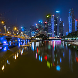 Shenton @ Blue Hour by Gordon Koh - City,  Street & Park  Night ( clouds, shenton way, skyline, cityscape, travel, singapore, city, blue hour riverfront, financial district, skyscraper, jubliee bridge, buildings, asia, long exposure, waterfront )