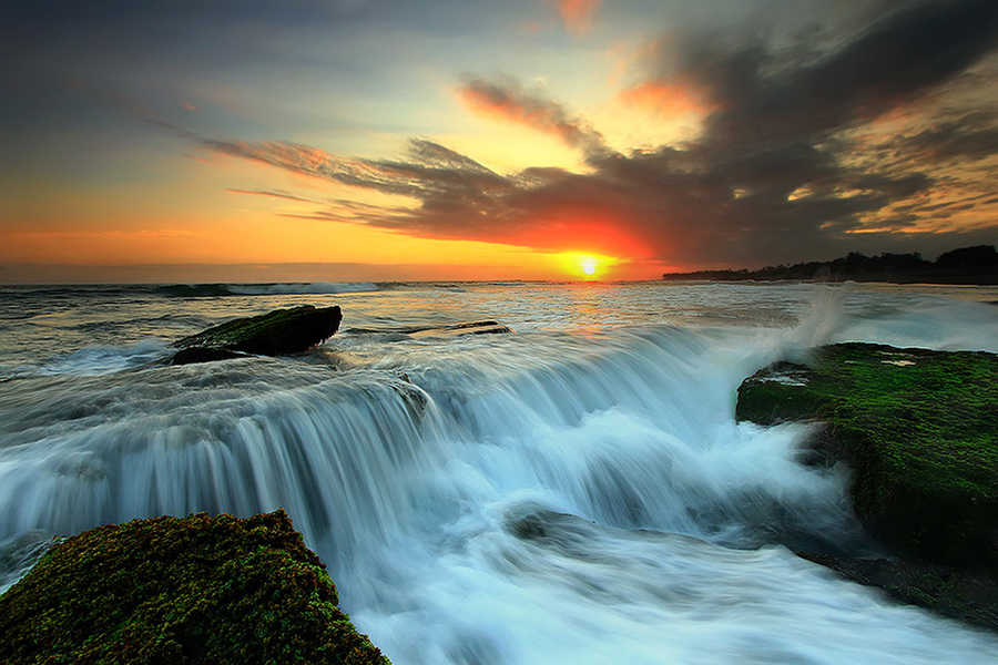 Flow At 5 Beach by Agoes Antara - Landscapes Waterscapes ( beach waterscape landscape sunset sunrise water bali cloud sun rock stone )