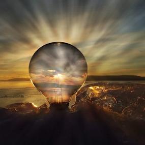 Light of my world by Dawn Vance - Digital Art Things ( clouds, sky, sunset, digital art, ray of light, shining, rocks, light bulb, light )