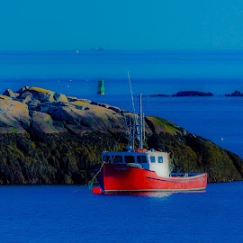Maine on Steroids by Ronnie Sue Ambrosino - Digital Art Places ( water, maine, lighthouse, mooring, rock, lobster, boat,  )
