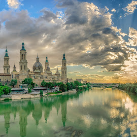 Cathedral by Hamza Qayyum - Landscapes Cloud Formations ( clouds, reflection, catholic, church, zaragoza, outdoor, cathedral, bridge, spain, river )