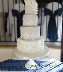 Four Tier Wedding Cake with Edible Lace and Sugar Ruffles